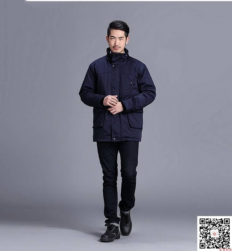 藏蓝涤棉纱卡工装棉衣 劳保工衣 HY-DJ8