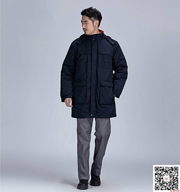 藏蓝斜纹涤卡棉衣 防寒车间劳保服HY-DJ11