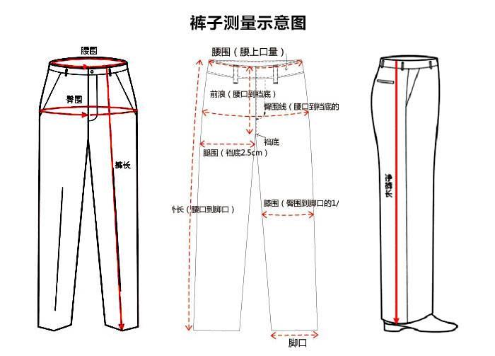 裤子尺码对照表 图文详解说明!测量方法图解!