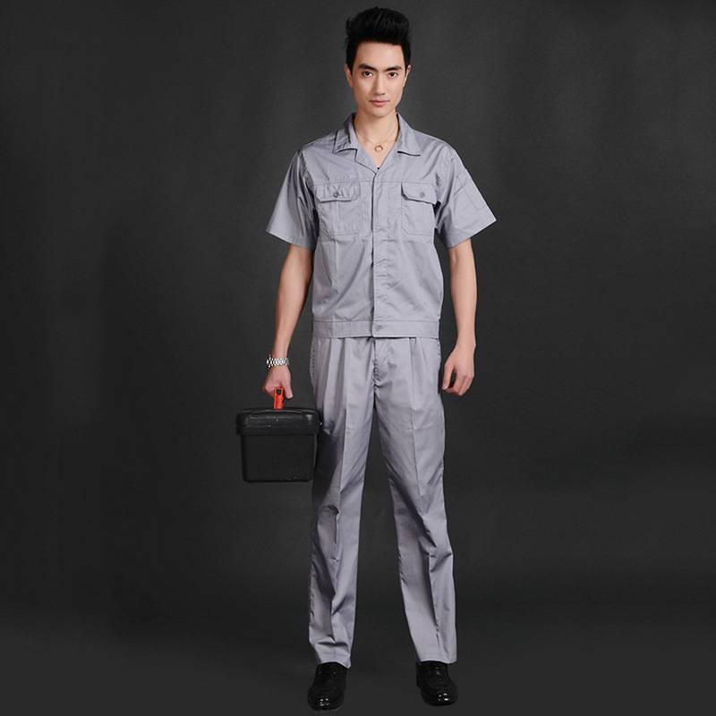 翻领短袖浅灰色汽修工作服