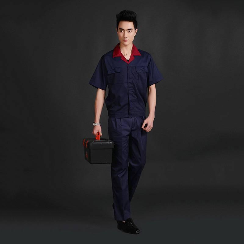 藏青色夏季短袖工作服 厂家直销 夏季工作服批发YY005