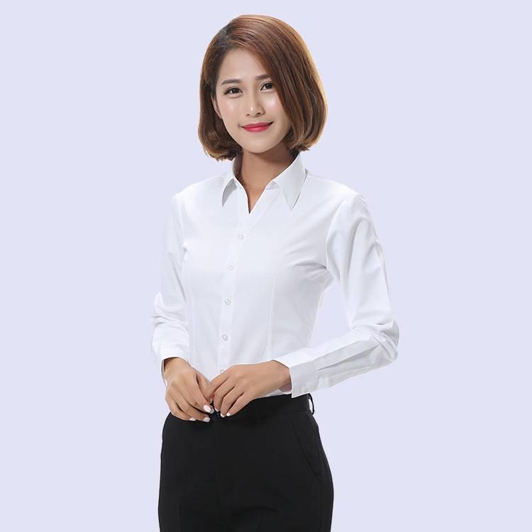 新款长袖职业衬衣 女式v领衬衫 白色斜纹长袖衬衣 厂家直销
