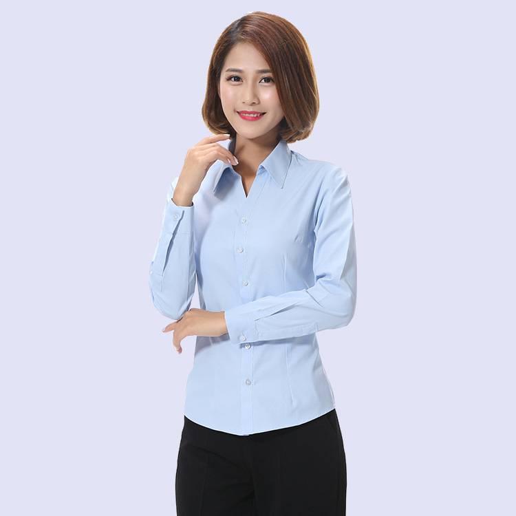 浅蓝女式长袖衬衣 秋季新品韩版女装 免烫V领修身衬衫厂家