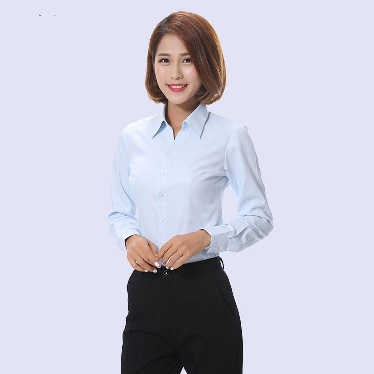 秋冬新款长袖职业V领修身女式衬衫 斜纹蓝色职业正装衬衣