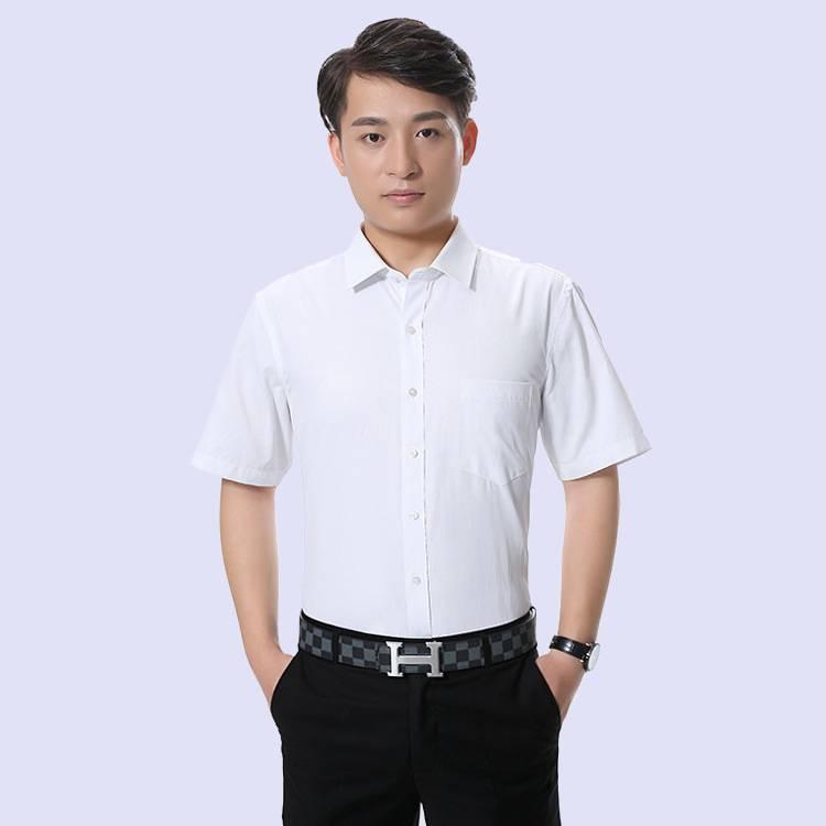 2018新款白色男装短袖衬衫 男式工装衬衣 修身商务上班衬衣