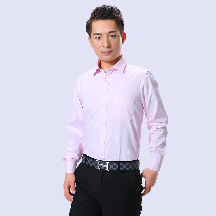 新品长袖男士衬衫 时尚修身型伴郎粉红色衬衣男装批发厂家
