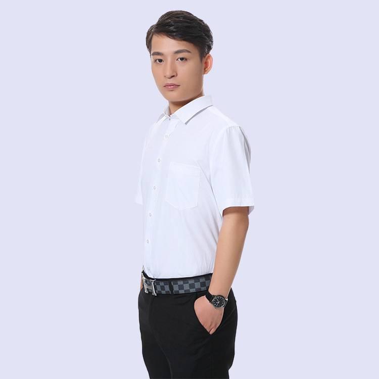 白色男装短袖衬衫 男式工装衬衣 修身商务上班职业装厂家