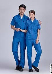 涤棉长短袖厂服定做 夏季工作服套装定做 HY-XJ03