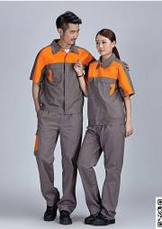 深灰纯棉工服定做 夏季长短袖工作服套装定做 HY-XJ06