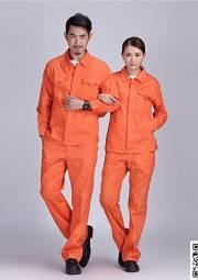 纯棉细斜纹工衣定做 橙色长袖夏季工作服套装定做 HY-XJ02