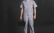 翻领短袖浅灰色汽修工作服 厂家直销 夏季工作服批发YY008