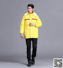 黄色涤棉防静电工装棉衣 劳保厂服 冬季工作服定做HY-DJ7