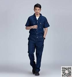纯棉牛仔工作服定做 夏季短袖工作服套装定做 HY-XJ07