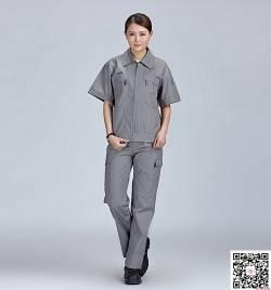 灰色涤棉细帆布工作服定做 夏季短袖工作服套装定做 HY-XJ08