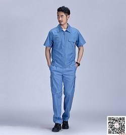 浅蓝涤棉细帆布工作服定做 夏季短袖工作服套装定做 HY-XJ09