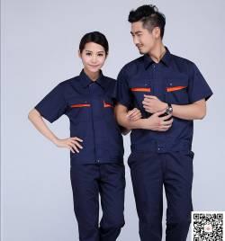 透气 耐磨 舒适 涤棉细斜 夏季工作服套装定做 HY-XJ01