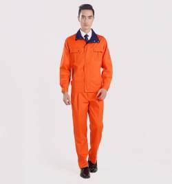 橙色长袖工作服套装 冬季劳保服厂家直销 秋冬工作服批发