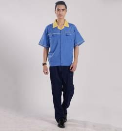 浅蓝色春夏短袖套装工作服 厂家直销 夏季工作服批发YY002