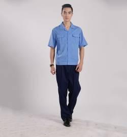 涤棉工装夏季浅蓝短袖工作服 厂家直销 夏季工作服批发YY007