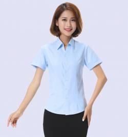 夏季新款纯色修身女装 短袖衬衫 韩版女式V领衬衣批发 厂家