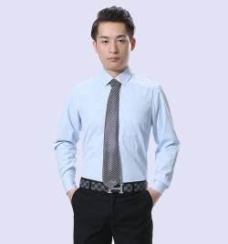 男式长袖衬衫 春夏男装商务纯色衬衫 尖领修身青年衬衣职业