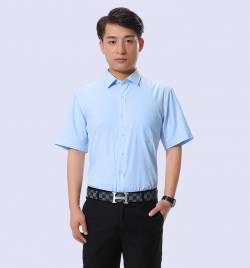 湖蓝夏季新款男士短袖衬衫 修身免烫抗皱棉衬衣 厂家批发