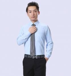 男士长袖衬衫休闲衬衣 春季青年工装韩版修身百搭浅蓝衬衫